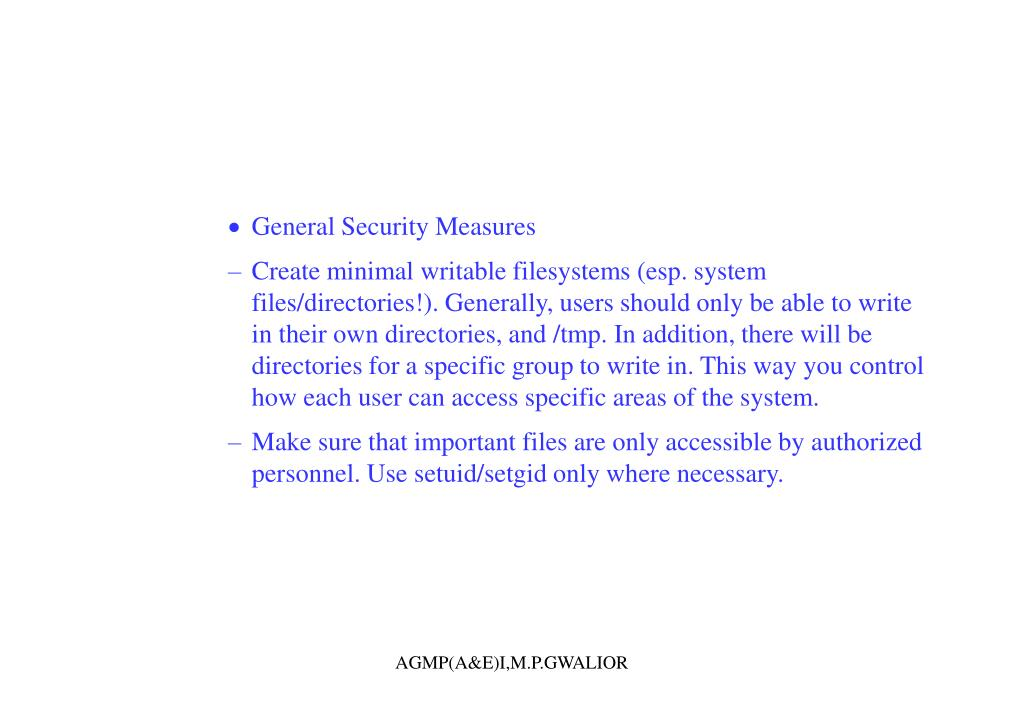 General Security Measures