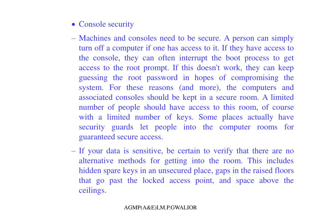 Console security