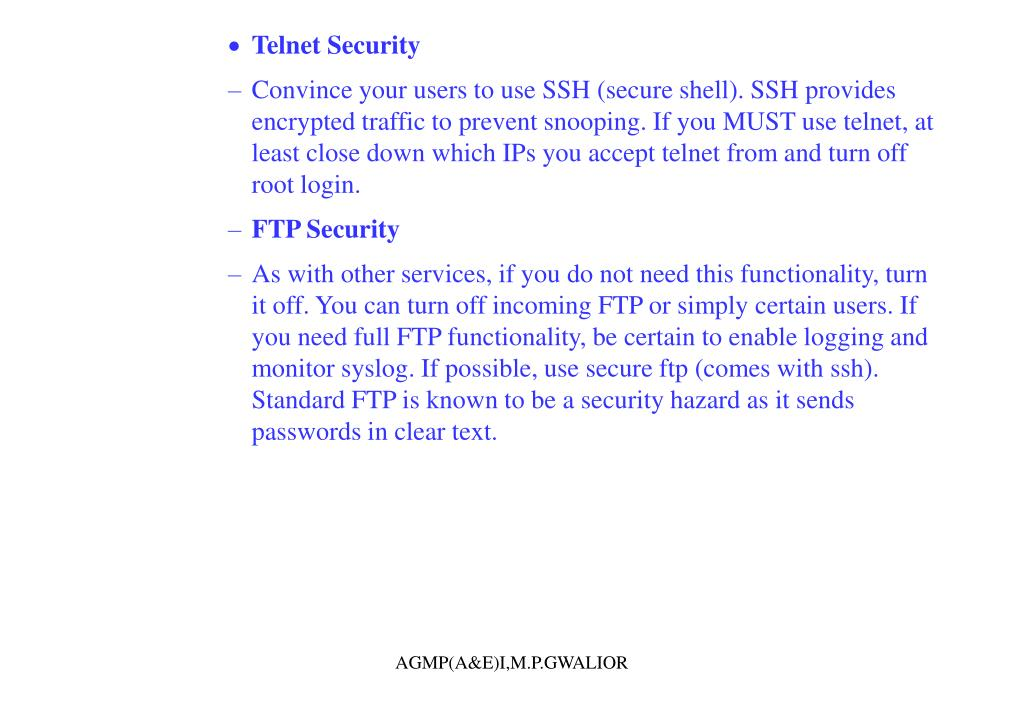 Telnet Security