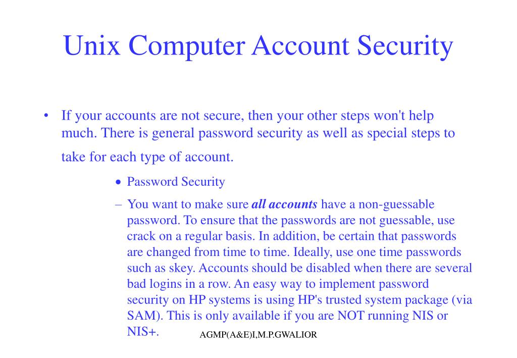 Unix Computer Account Security