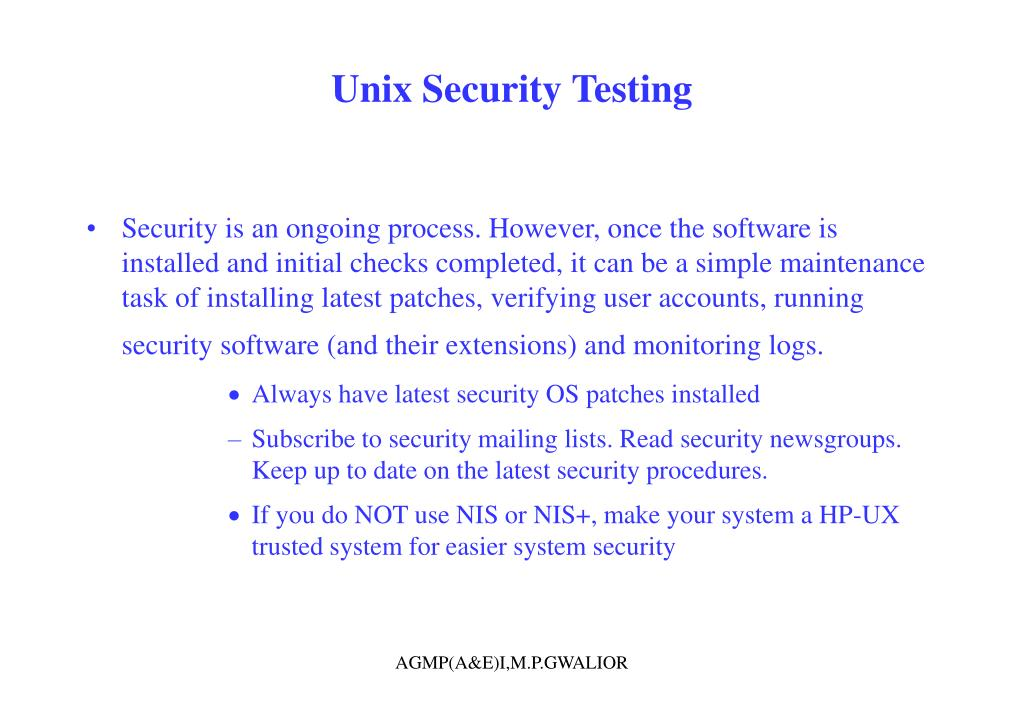 Unix Security Testing