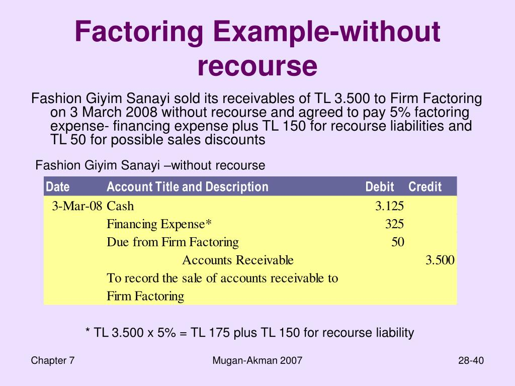 Factoring Example-without recourse