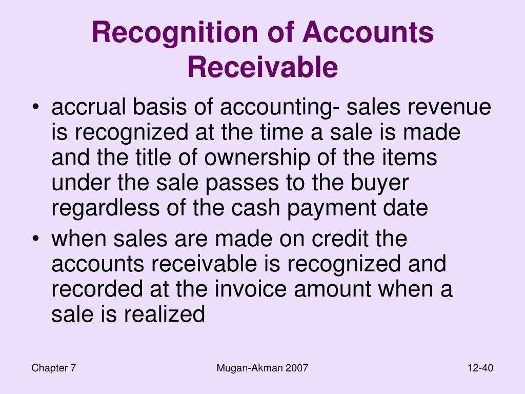 Recognition of Accounts Receivable