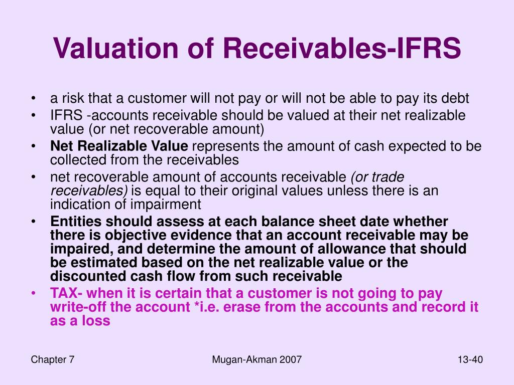 Valuation of Receivables-IFRS
