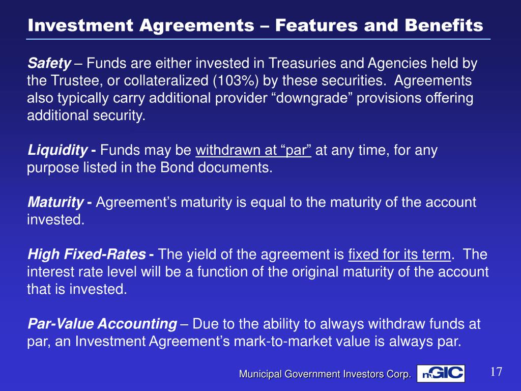 Investment Agreements – Features and Benefits