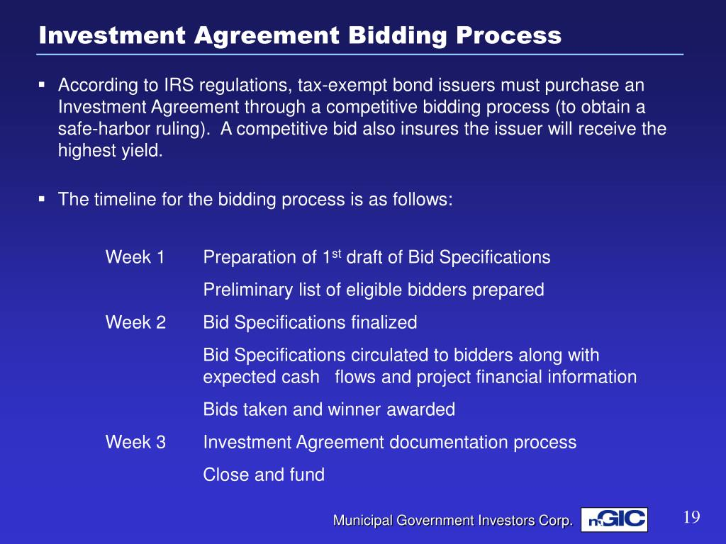 Investment Agreement Bidding Process