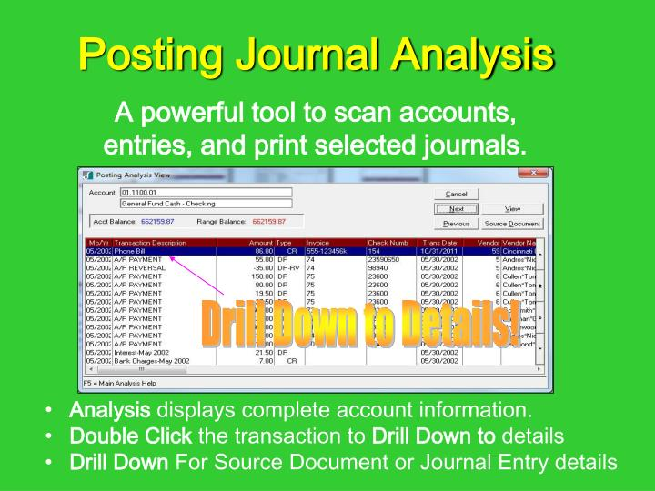 A powerful tool to scan accounts, entries, and print selected journals.