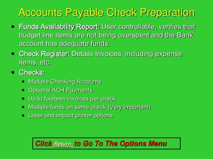 Accounts Payable Check Preparation