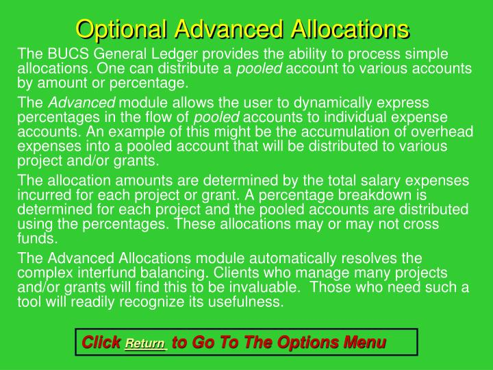 Optional Advanced Allocations