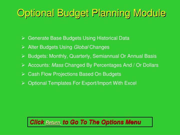 Optional Budget Planning Module