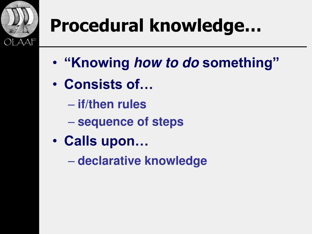 Procedural knowledge…