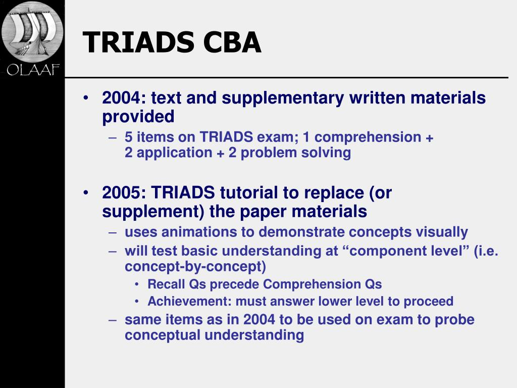 TRIADS CBA