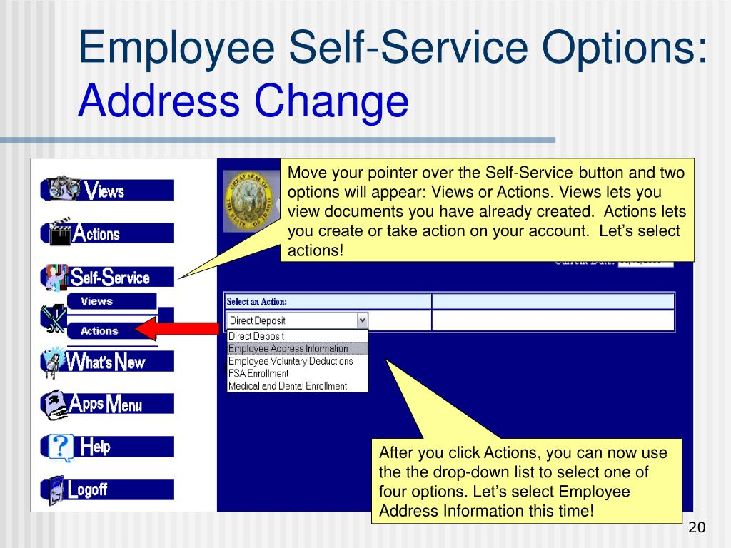Move your pointer over the Self-Service