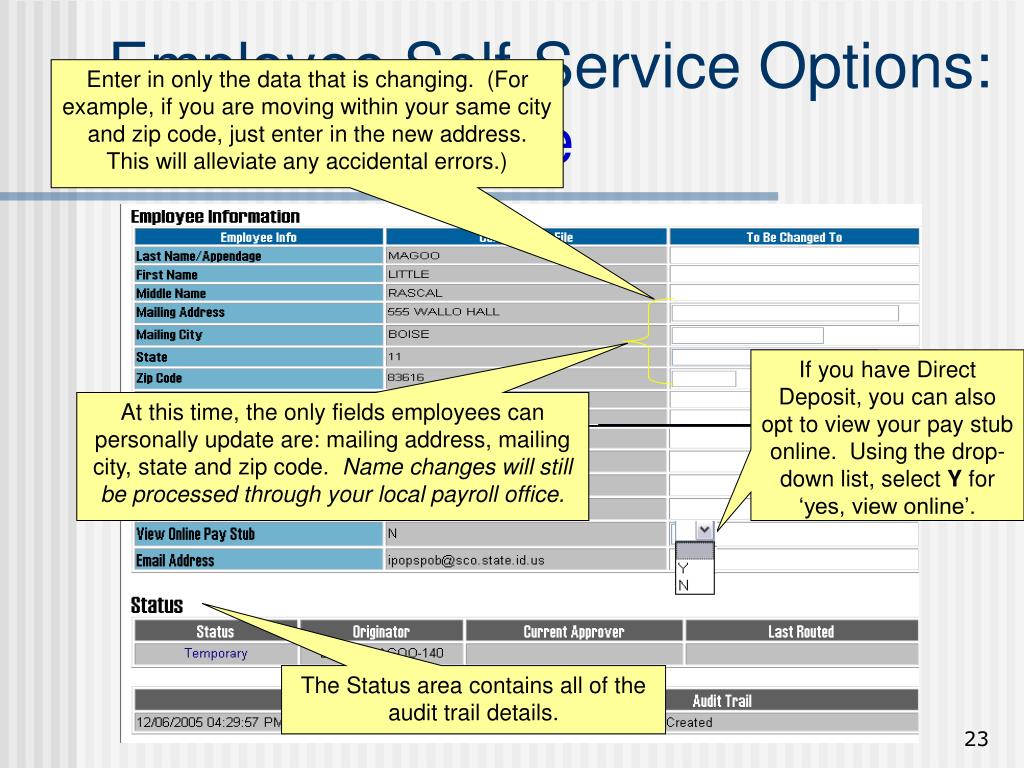 If you have Direct Deposit, you can also opt to view your pay stub online.  Using the drop-down list, select