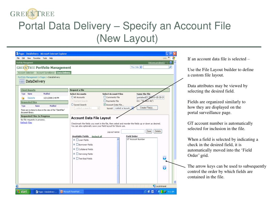 Portal Data Delivery – Specify an Account File