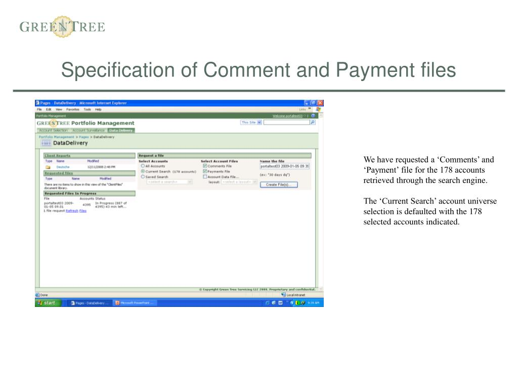 Specification of Comment and Payment files