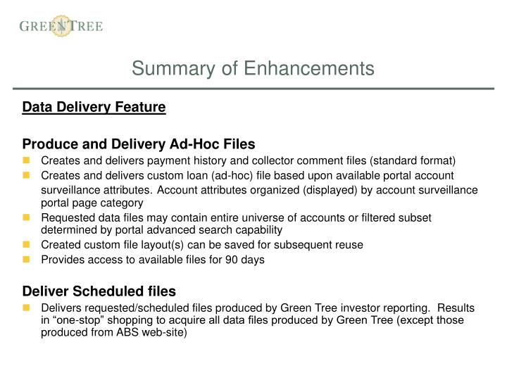 Summary of enhancements
