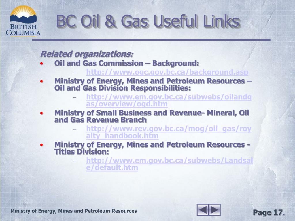 BC Oil & Gas Useful Links
