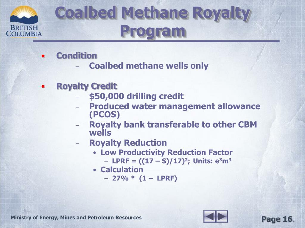 Coalbed Methane Royalty Program