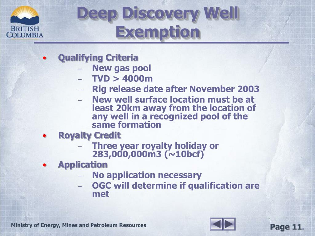Deep Discovery Well Exemption