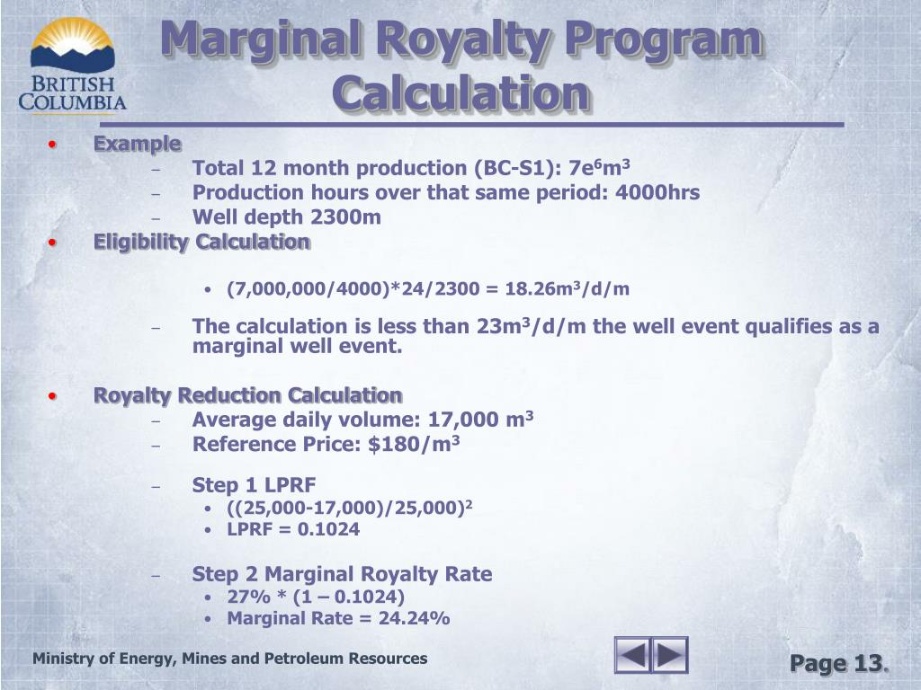 Marginal Royalty Program Calculation