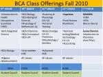 bca class offerings fall 2010