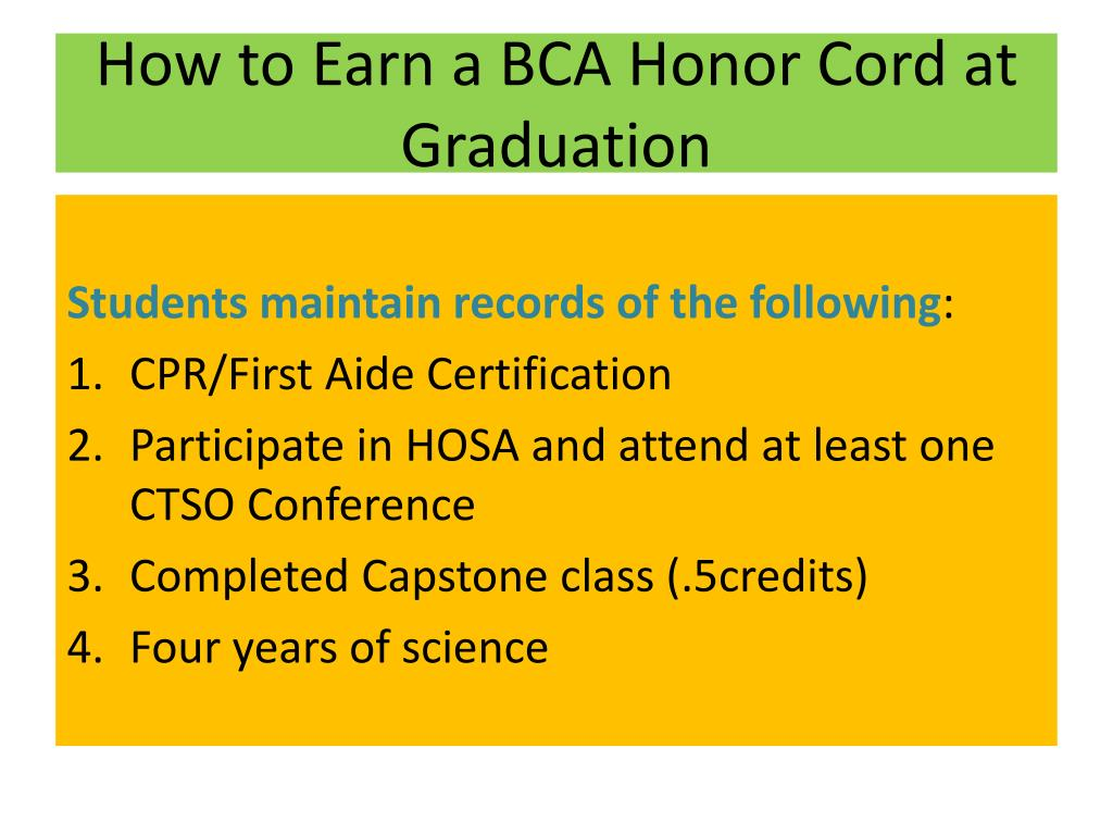 How to Earn a BCA Honor Cord at Graduation