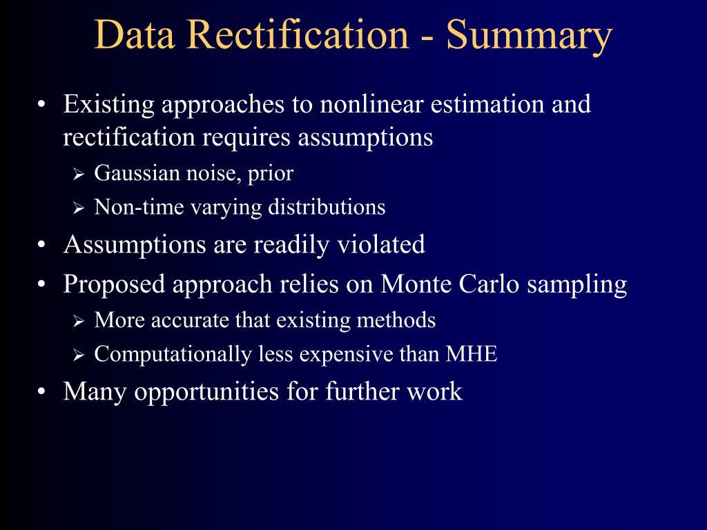 Data Rectification - Summary