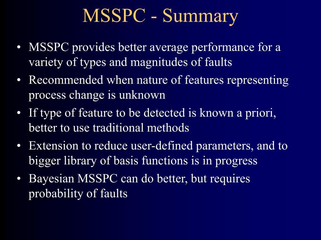 MSSPC - Summary