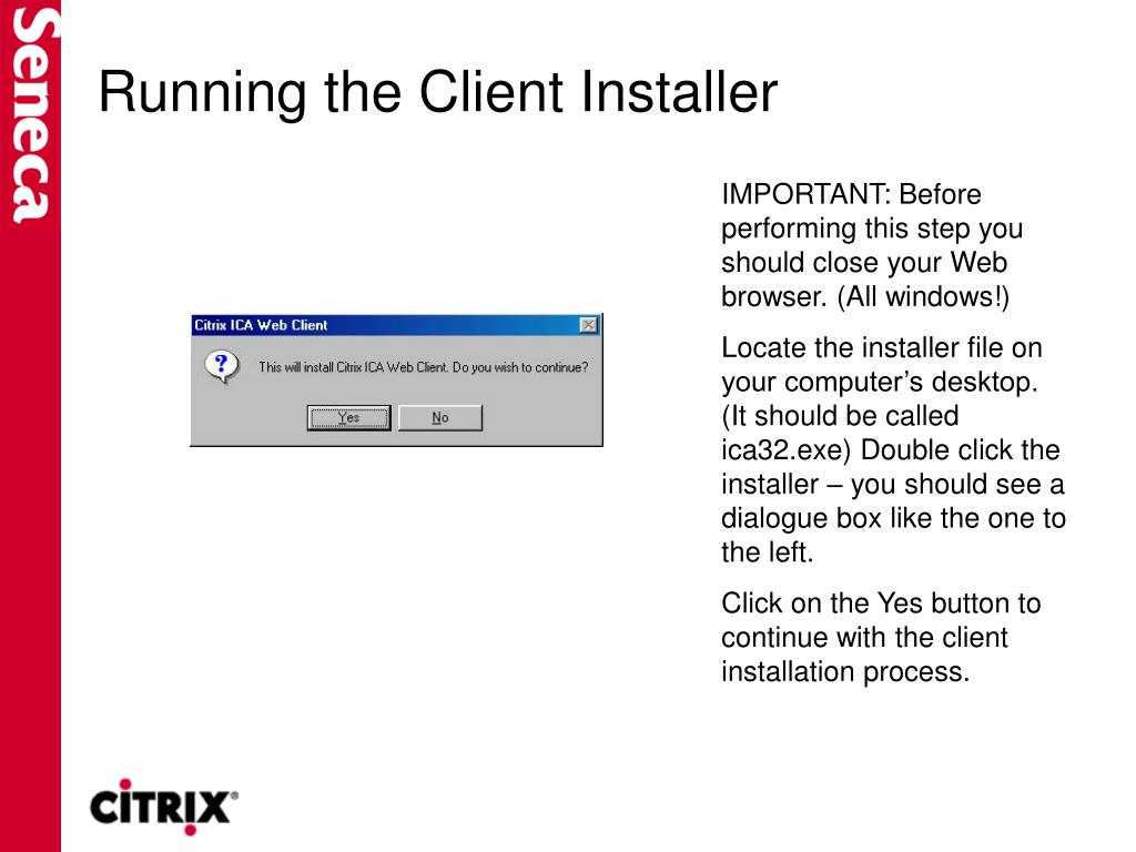 Running the Client Installer