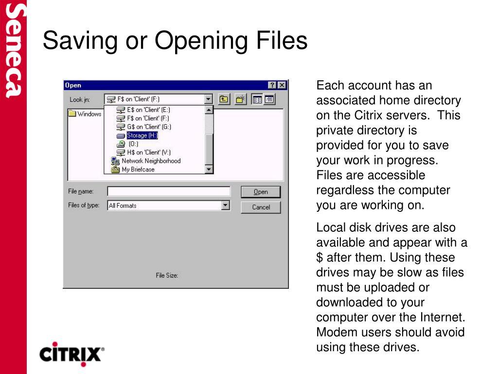 Saving or Opening Files