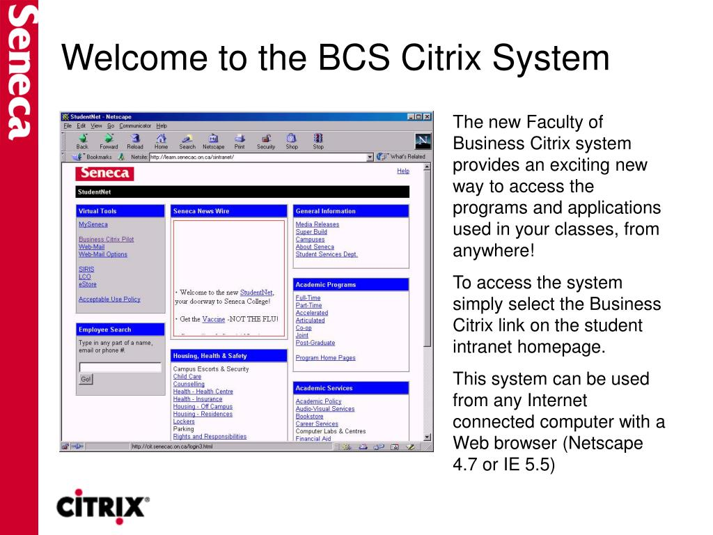 Welcome to the BCS Citrix System