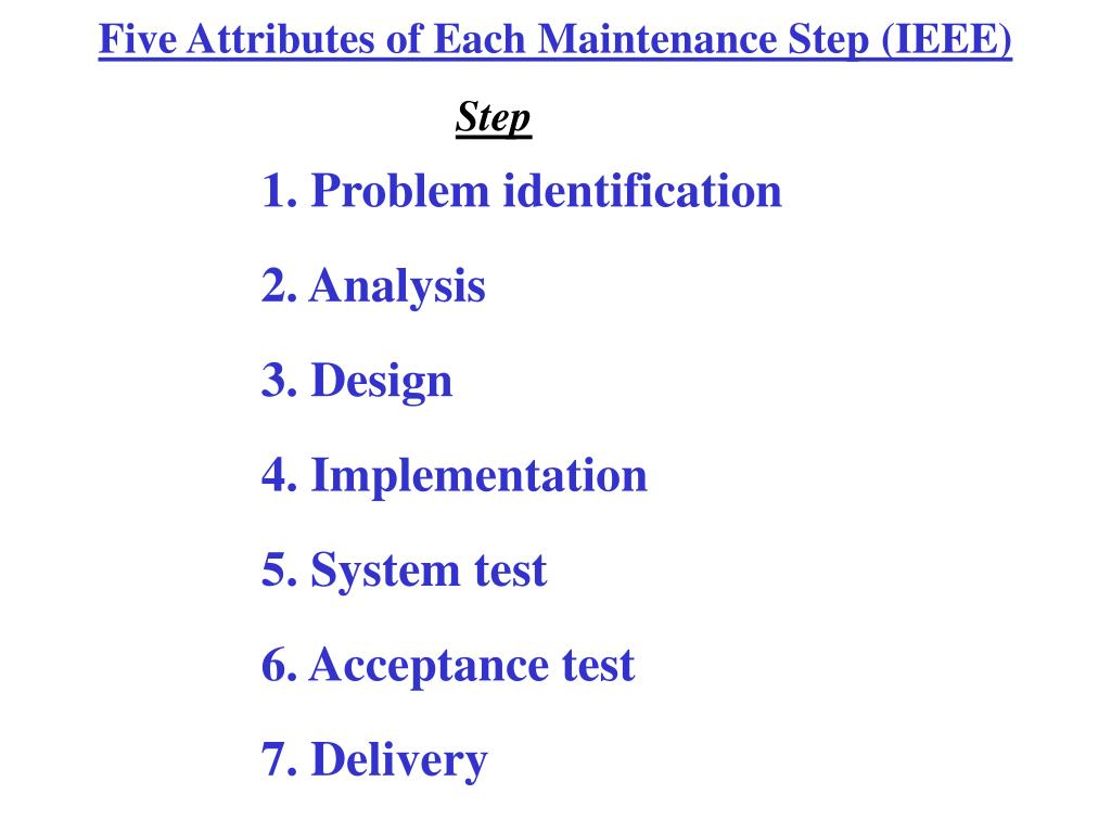 Five Attributes of Each Maintenance Step (IEEE)