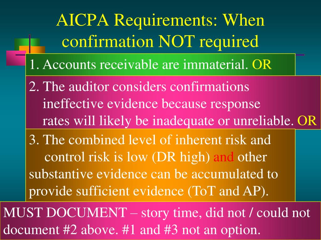 AICPA Requirements: When confirmation NOT required