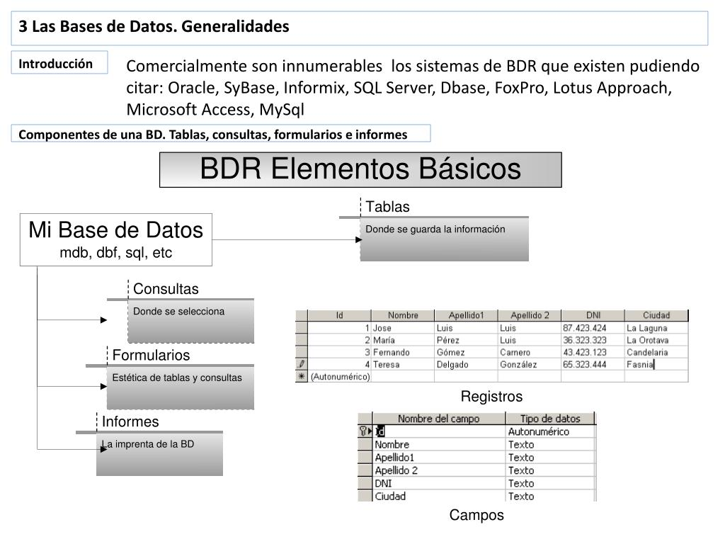 3 Las Bases de Datos. Generalidades
