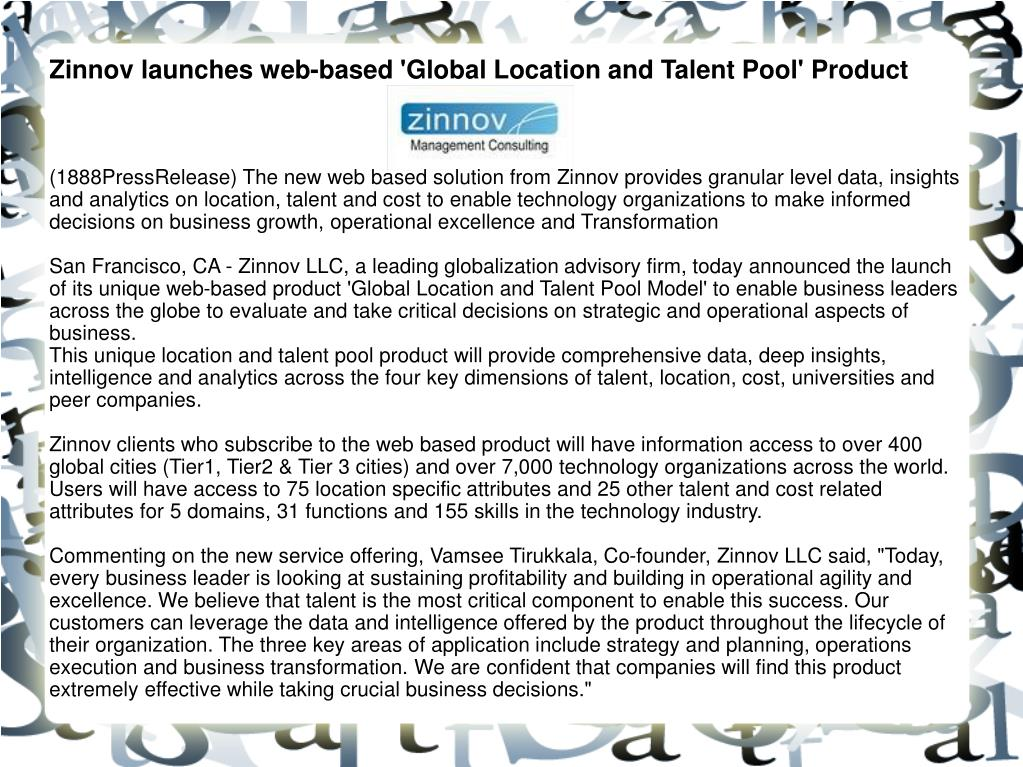 Zinnov launches web-based 'Global Location and Talent Pool' Product