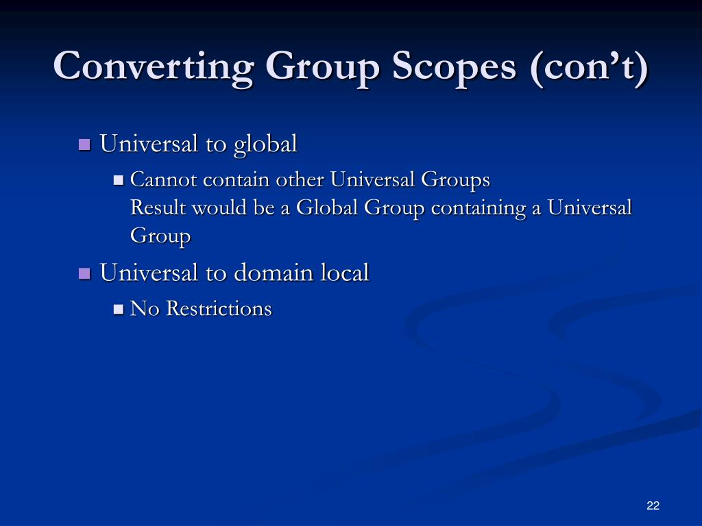 Converting Group Scopes (con't)