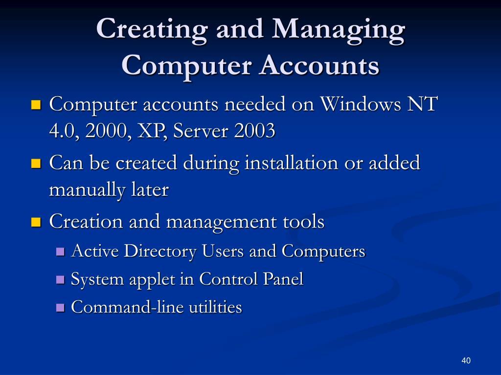 Creating and Managing Computer Accounts