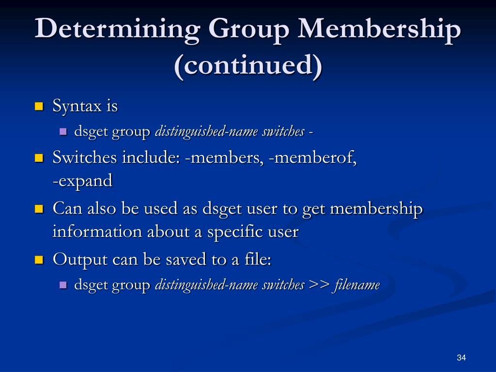 Determining Group Membership (continued)