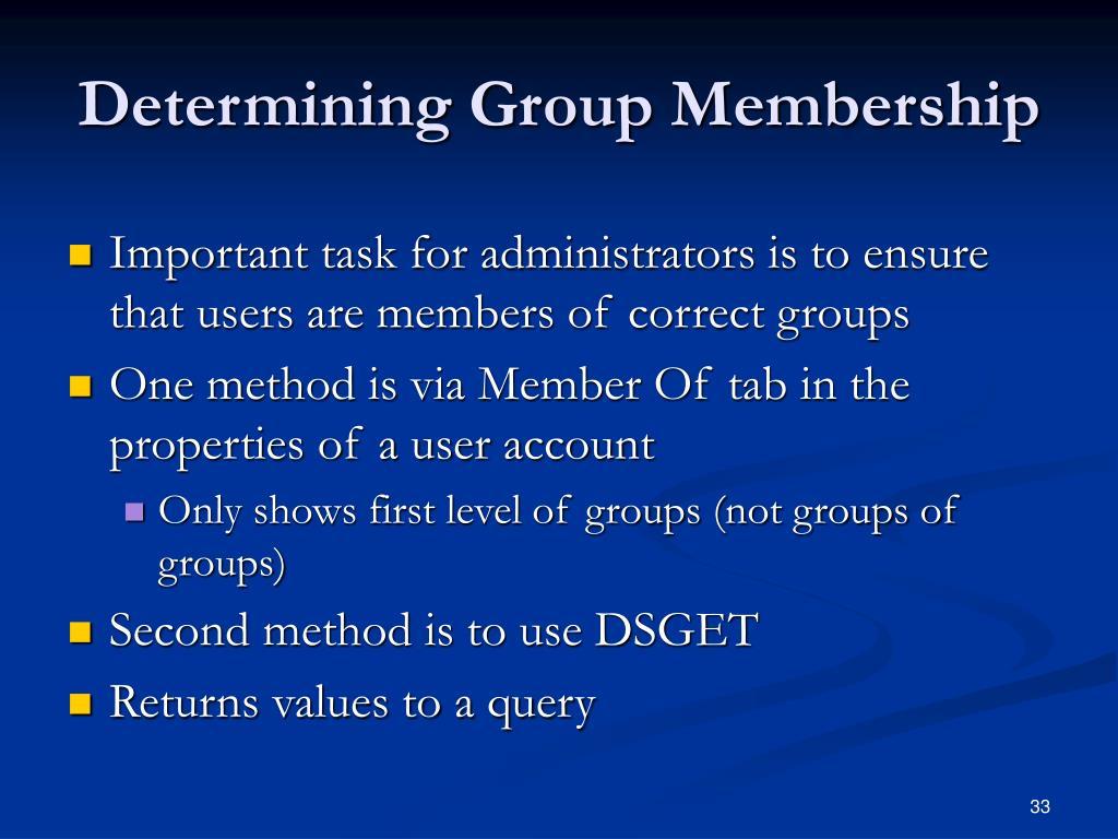 Determining Group Membership