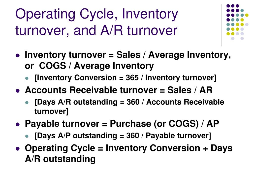 Operating Cycle, Inventory turnover, and A/R turnover