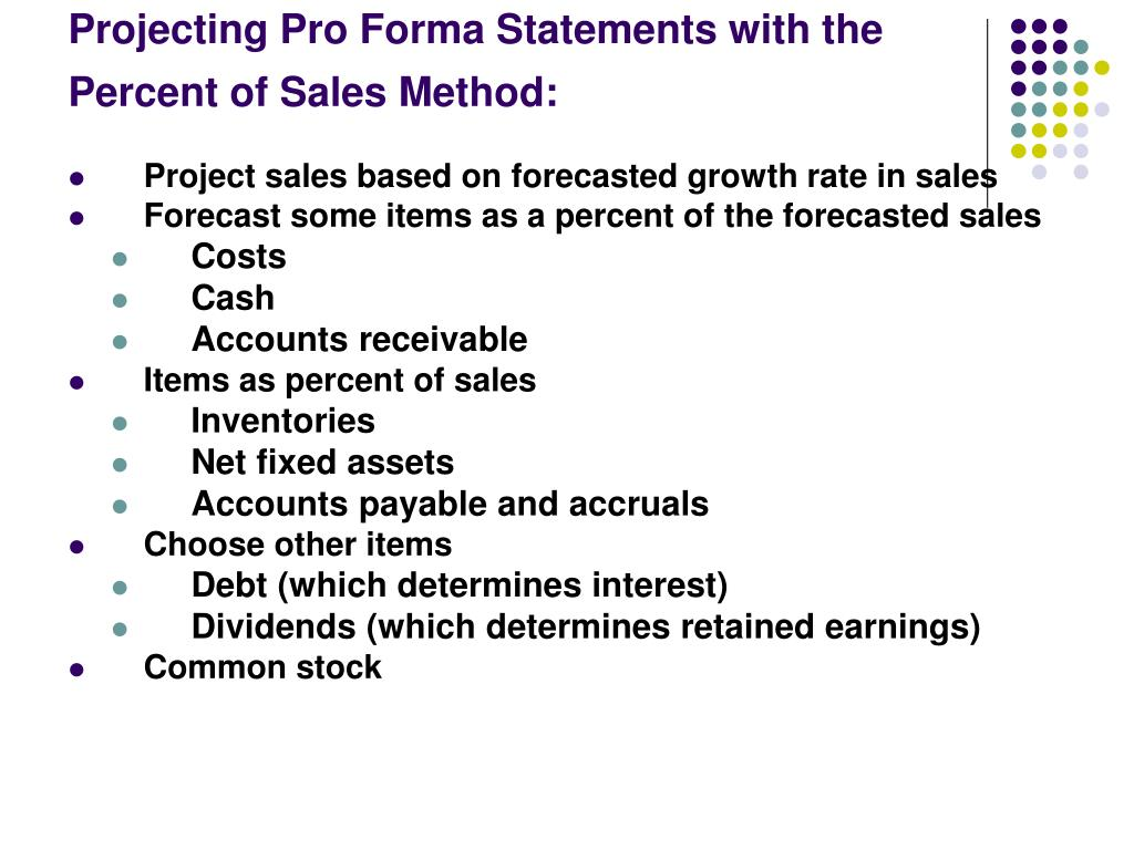 Projecting Pro Forma Statements with the Percent of Sales Method: