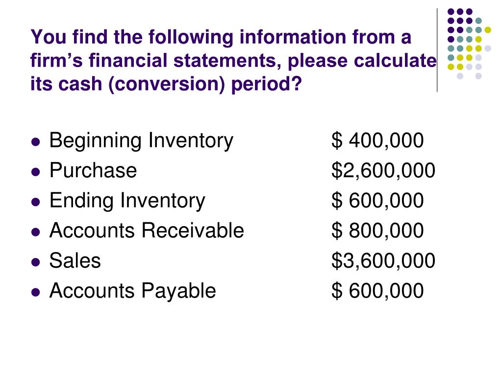 You find the following information from a firm's financial statements, please calculate its cash (conversion) period?