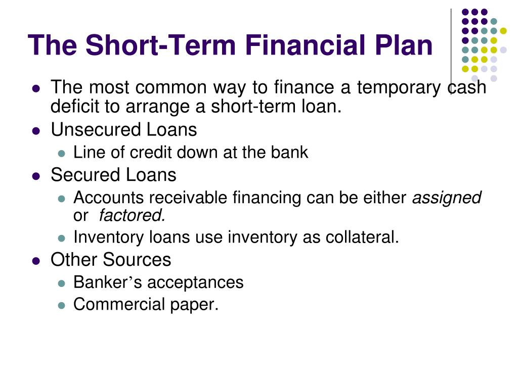 The Short-Term Financial Plan