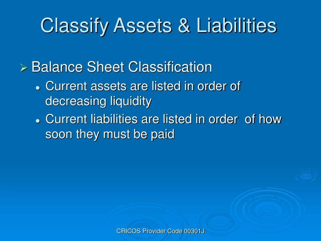 Classify Assets & Liabilities