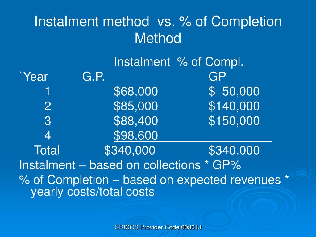 Instalment method  vs. % of Completion Method