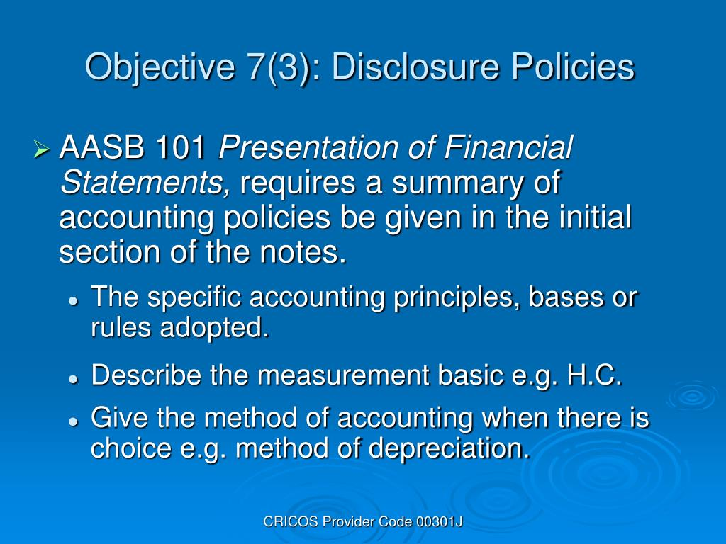 Objective 7(3): Disclosure Policies