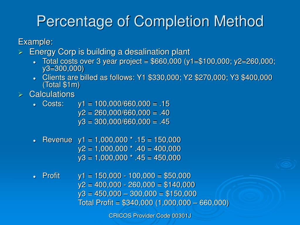 Percentage of Completion Method