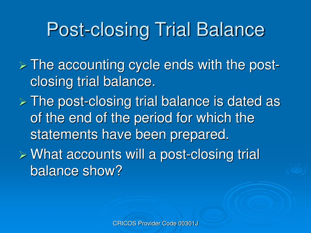 Post-closing Trial Balance