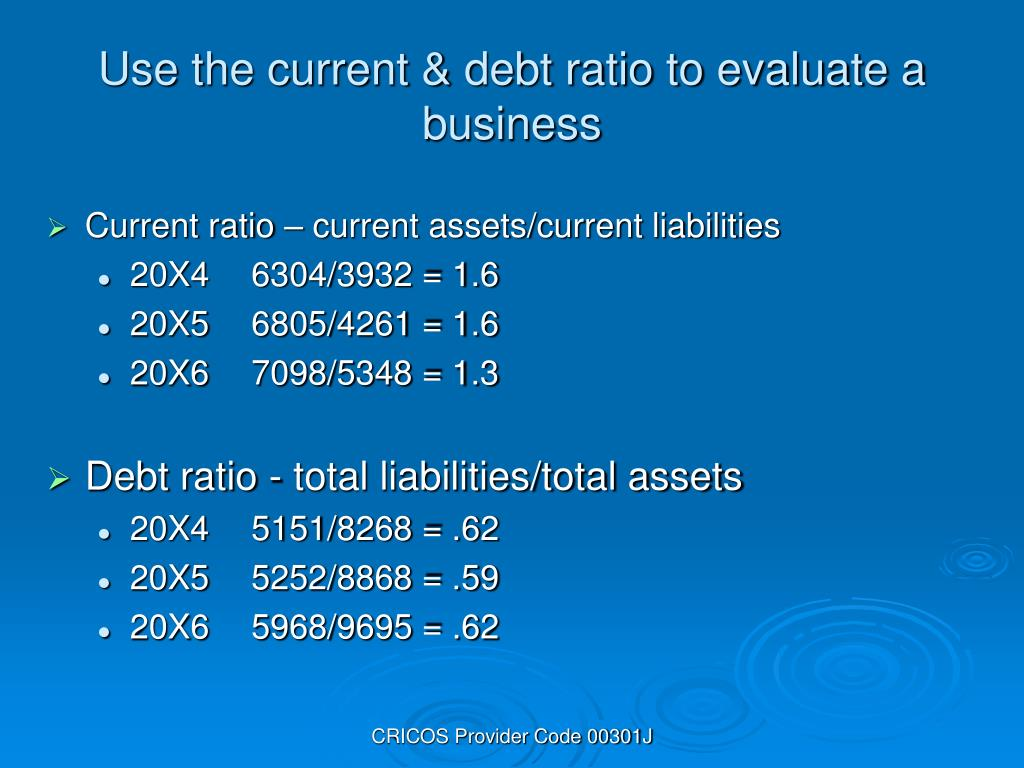 Use the current & debt ratio to evaluate a business